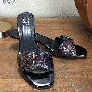 Donald J. Pliner Brown Leather Kitten Heels Mules